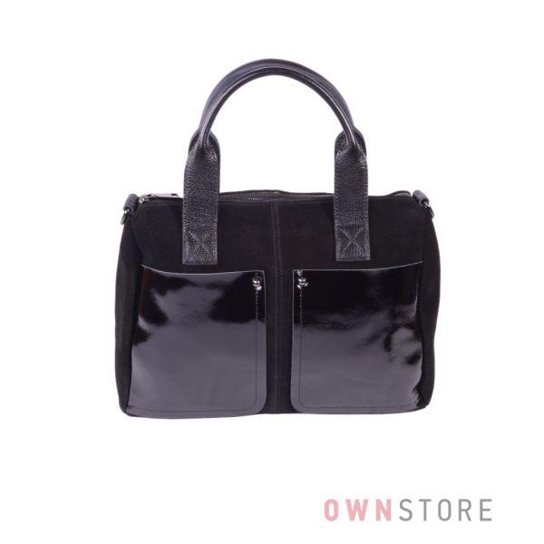 Купить онлайн замшевую женскую сумку с двумя карманами - арт.7565
