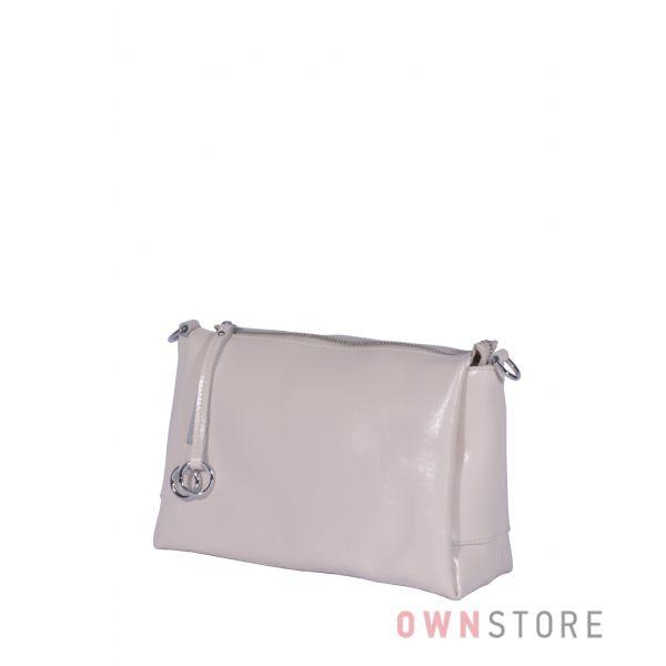 Купить онлайн небольшую женскую сумочку через плечо из бежевой кожи - арт.801103