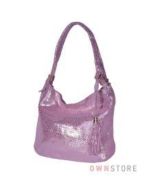 Сумка-мешок розовая из лазера с блеском(арт.8058)