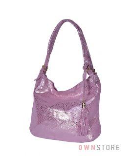 Купить онлайн сумку-мешок розовую женскую из лазера с блеском - арт.8058