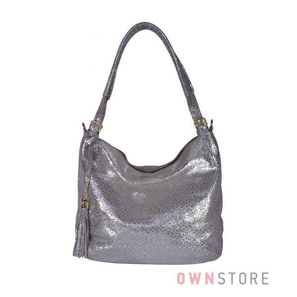 Купить онлайн сумку-мешок серую женскую из лазера с блеском - арт.8058
