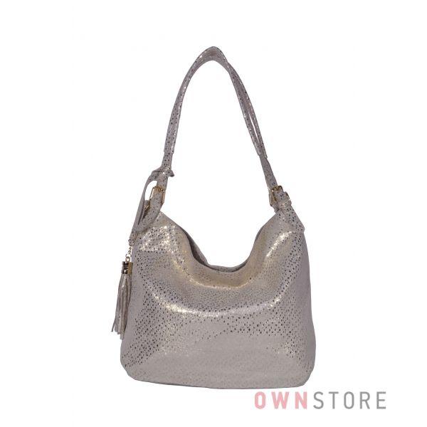 Купить онлайн сумку-мешок женскую золотую из лазера с блеском - арт.8058