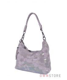 Сумка-мешок серебряный с цветами(арт.8062)