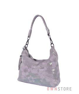 Купить онлайн сумку-мешок от Фарфалла Россо женскую серебряную с цветами - арт.8062
