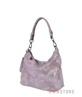 Купить онлайн сумку-мешок женскую нежно-розовую с цветами - арт.8062