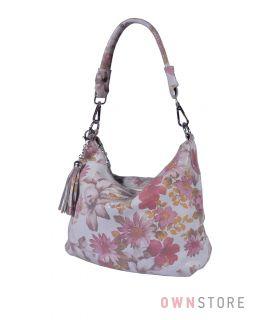 Купить онлайн сумку-мешок женскую кремовую с цветами - арт.8062