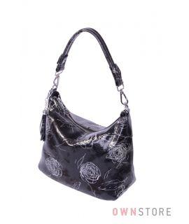 Сумка-мешок черная с серебряным рисунком(арт.8062)