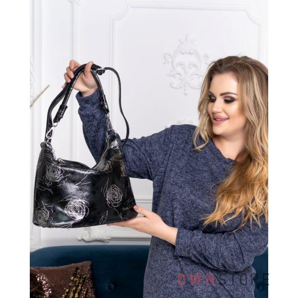 Купить онлайн сумку женскую от Фарфалла Россо черную с серебряным рисунком - арт.8062