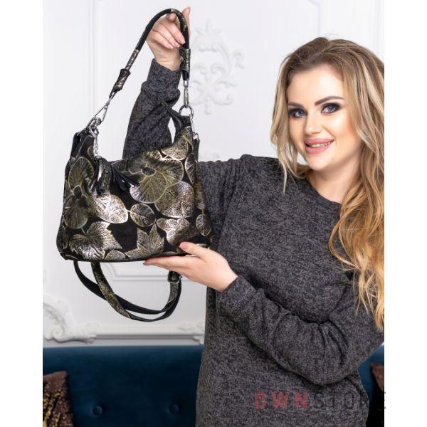 Купить онлайн  сумку женскую от Фарфалла Россо из натуральной замши с набивным рисунком - арт.8062