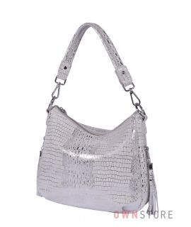 Купить онлайн сумочку женскую из лазера светло-серую - арт.8115_1