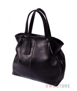 Кожаная черная сумка со складками по бокам(арт.823)