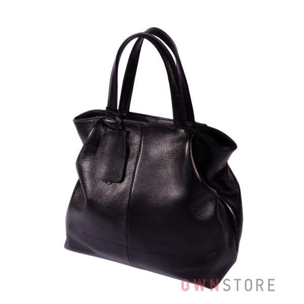 Купить онлайн кожаную черную женскую сумку со складками по бокам - арт.823