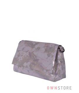 Купить онлайн сумку женскую из лазера с цветами нежно-розовую  - арт.856