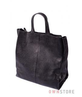 Сумка - шопер черная из кожи(арт.9037)
