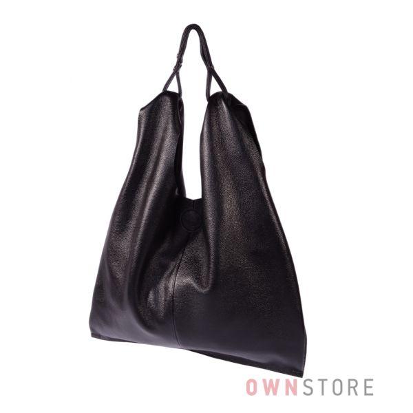 Купить онлайн сумку-майку женскую из натуральной черной кожи - арт.9038