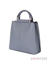 Кожаная серо-голубая сумочка(арт.9912)