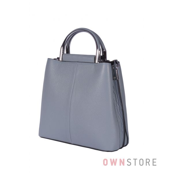 Купить онлайн кожаную женскую серо-голубую сумочку - арт.9912