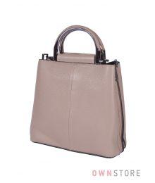 Кожаная бежевая сумочка(арт.9912)