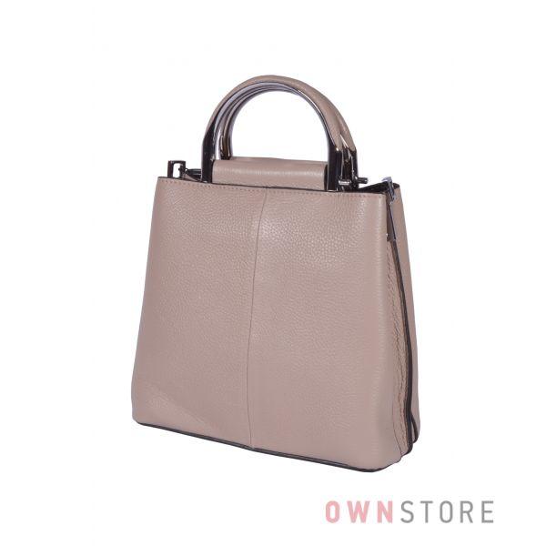 Купить онлайн кожаную бежевую женскую сумочку - арт.9912