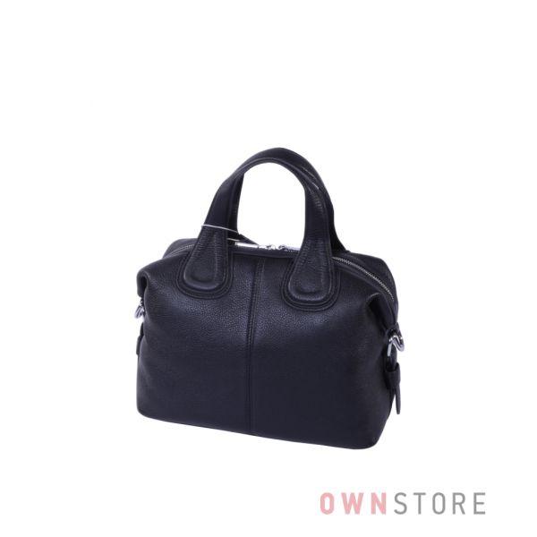 Купить онлайн сумку-саквояж женскую черную кожаную - арт.9952