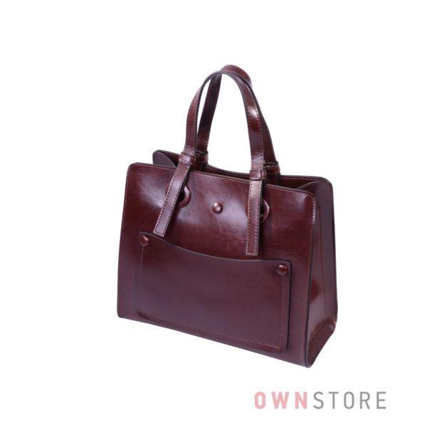 Купить онлайн небольшую коричневую женскую сумку на три отделения - арт.9968
