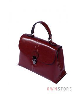 Купить онлайн сумку саквояж женский с перекидом кожаный красный - арт.9970