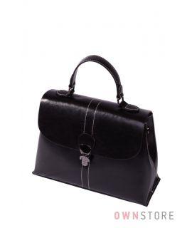 Купить онлайн сумку саквояж женскую с перекидом кожаную черную - арт.9970